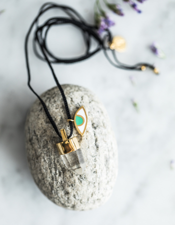 Náhrdelník  Eye and crystal / black / Quartz - gold