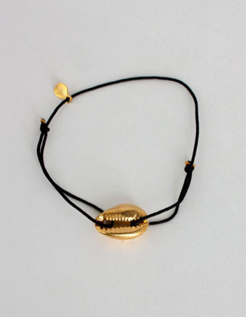 Náramek Gold Cowrie Shell Black